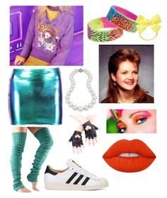 """Got carried away w/ the 80s vibe she had sorry"" by process-red on Polyvore featuring Boohoo, ToeSox, adidas Originals and Bling Jewelry"