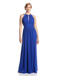 Badgley Mischka Women's Beaded Neck Gown (Royal Blue)