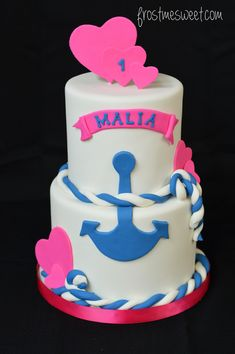 nautical anchor First Birthday cake by Frost Me Sweet Anchor Birthday Cakes, Anchor Cakes, 3rd Birthday Cakes, Girl Birthday, Nautical Cake, Nautical Anchor, Rosette Cake, Elephant Cakes, Minnie Mouse Cake