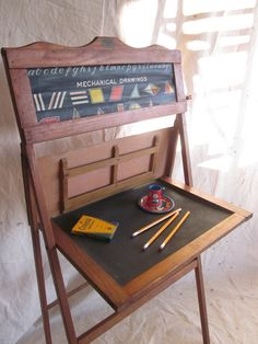 Vintage School Desk Child Educational Learning Board Home School Easel…