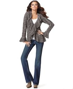 Yep. This is pretty much me, most of the time-cardigan, tee, jeans-add about 4 sizes to the model ;)
