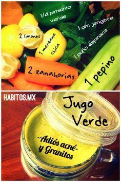Jugo verde ADIÓS ACNÉ: zanahoria, limones, manzana, pimiento, jengibre, espinacas y pepino