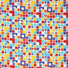 white Kokka fabric colorful square circle rectangle shape