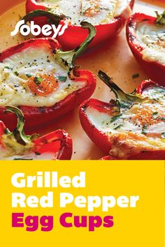 Looking for a barbecue brunch or breakfast for dinner on the grill? Try our Grilled Red Pepper Egg Cups recipe from Sobeys. Eggs are baked on the grill into the centre of smokey peppers. The cheesy rich centre uses edam cheese for a mild, nutty finish. Eggs In Peppers, Red Peppers, Edam Cheese, Egg Cups, Breakfast For Dinner, Barbecue, Grilling, Brunch, Low Carb