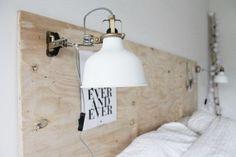 Mariët van der Kooij and her house Dream Bedroom, Home Bedroom, Bedroom Decor, Bedrooms, Plywood Headboard, Ikea Lamp, Diy Décoration, Deco Design, Arquitetura