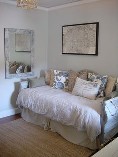 Gorgeous daybeds with trundle in Home Office Shabby chic with Sisal Carpet next to Office Guest Room alongside Martha Stewart Sharkey Grey and Trundle Bed