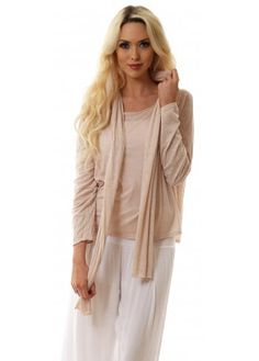 Designer Desirables Nude Melange Cotton Long Sleeve Top With Scarf