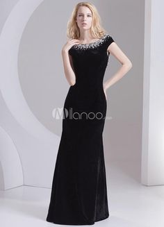 Vintage Black Flannel Beading Jewel Neck Womens Evening Dress. Vintage Black Flannel Beading Jewel Neck Womens Evening Dress. See More Jewel Neck at http://www.ourgreatshop.com/Jewel-Neck-C974.aspx