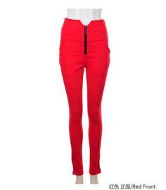 Women New Vintage Empire Waist Slim Skinny Red Polyester Thin Pants S/M/L@TS111135r