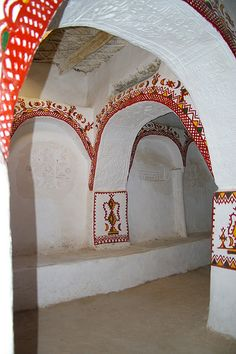 Decorative covered courtyard, Ghadames old town, Libya