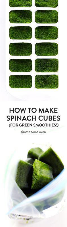 Learn how to make Frozen Spinach Cubes that are perfect for green smoothies! They're super quick and easy to blend, and they're the perfect way to use up leftover greens! | gimmesomeoven.com