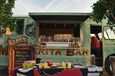 This mobile margarita-making machine is Rasta Rita . Vintage Margarita Truck and Portable Bar Service pouring the for weddings, private and corporate events. Taco Catering, Party Catering, Bar Drinks, Beverages, Taco Food Truck, Wedding Catering Cost, Margarita Bar, Food Truck Wedding, How To Make Margaritas