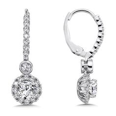 Caro74 - Diamond Halo Drop Earrings in 14K White Gold with Platinum Post (1ct. tw.) #CFE578W
