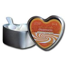 3 In 1 Round Candle Dreamsicle 4 Ounce. From the Manufacturer: 100% Vegan. Melts into a warm silky massage oil Penetrates & Moisturizes Uses all-natural oils: Hemp Seed Vitamin E Jojoba Avocado & Apricot Oil.