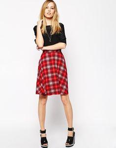ASOS+Circle+Skirt+In+Red+Tartan+Print