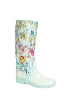 floral rain boot
