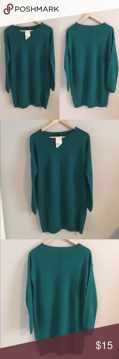 NWT H&M Green Sweater Dress Green sweater dress from H&M that's never been worn! Tags still attached. Pair with your favorite booties and statement necklace. Women's size small. H&M Dresses Long Sleeve