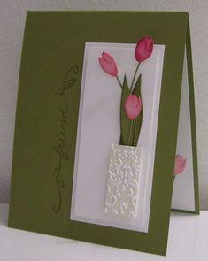Used River rock ink on letterpress with whisper white CS, used memory box tulip dies - flowers free in vase - love it!