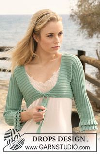 "DROPS bolero in ""Safran"" knitted from side to side with flounces along sleeve edges. Size: S to XXXL. ~ DROPS Design"