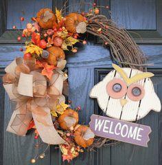 Fall Wreath Autumn Wreath Owl Wreath Burlap Bow.