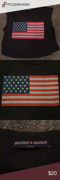 Brandy Melville Alien flag crop tee Design is like the America flag but with aliens instead of stars! The top is one size fits all. The sleeves are a muscle tee type style. The shirt is a dark gray. Brandy Melville Tops Muscle Tees