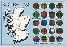 Scottish clan | Scotland Scottish Clans Map Postcard | Flickr - Photo Sharing!