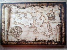 old world map pyrography , found on - Iona Art FB page Wood Burning Crafts, Wood Burning Patterns, Wood Burning Art, Wood Crafts, Pirate Photo Booth, Wood Burn Designs, Old World Maps, Got Wood, Wood Slab