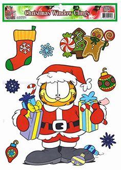 Garfield Santa Christmas Window Clings @ niftywarehouse.com #NiftyWarehouse #Garfield #GarfieldCat #GarfieldTheCat #Comics #JimDavis