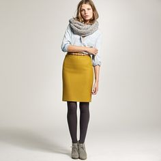Love the mustard-yellow color of this pencil skirt.