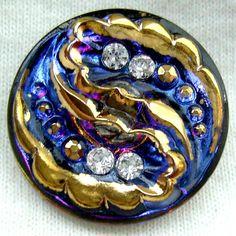 Czech Glass Rhinestone Button   Blue Mirror Back by ButtonOdyssey, $5.99