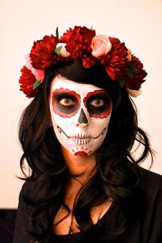maquillage squelette fleur