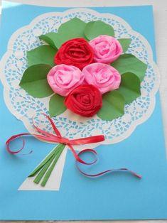 Детские поделки - Поздравительная открытка Букет роз к 8 Марта в старшей группе