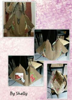 Japanese yarn dye patchwork & appliqué dumpling bag.....bag pattern and frontal appliqué from Akemi Shibata Special Patchwork Designs