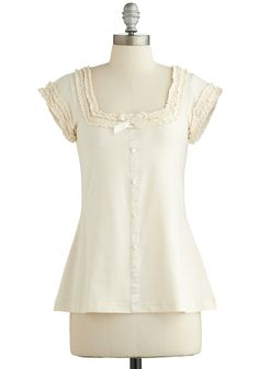 Let's Get Baking! Top. Wearing this sweet cream top from Effies Heart while decorating treats with your pals is just icing on the proverbial petit fours! #cream #modcloth