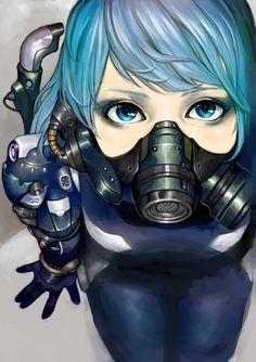 blue_eyes blue_hair highres junjunforever original power_suit rebreather