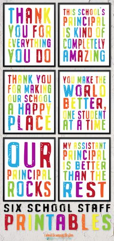 Six Printable School Staff and Principal Gifts…perfect for appreciation gifts! Six Printable School Staff and Principal Gifts…perfect for appreciation gifts!