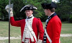 """""""Redcoat Uniforms, Part 2: corporals, sergeants and officers"""" from """"47th Foot in North America, 1772-1781"""" - Interesting article on the uniforms of NCOs and COs in the British Army during the American Revolutionary War - especially the former, since there is simply not enough information on NCOs out there on the Internet, I find. So, in this photo, that's a sergeant on the left and a CO on the right. Now if someone could please find me a good source for the Seven Years' War, I'll be happy!"""