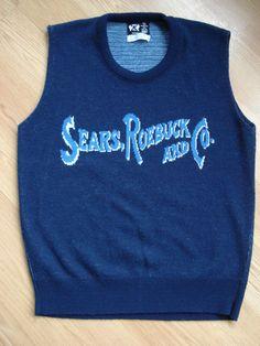 Vintage 1970s Mens Vest Jumper Blue with Sears Logo 2013429
