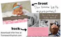 FREE adorable birth announcement template!  5x7 flat