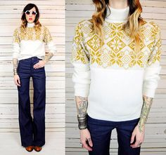 vintage 70s FAIRISLE knit snowflake high neck SWEATER jumper norwegian ETHNIC. $32.00, via Etsy.