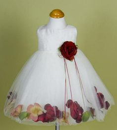 This dress has a white silk bodice and white tulle bottom with hidden flower petal opening, so you may change the petals for any occasion. You may also purchase extra petals at your local crafts stores to coordinate to your special needed colors Kids Flower Girl Dresses, Flower Girl Gifts, Flower Dresses, White Tulle, White Silk, Dress P, Baby Dress, Bridesmaid Outfit, Bridesmaids