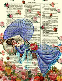It's Raining Roses Dictionary Art Print On 1897 Dictionary Page by reimaginationprints