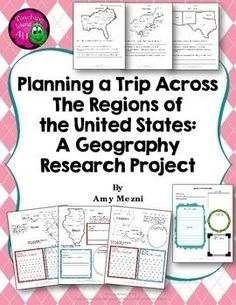Planning a Trip Across The Regions of the United States: A Geography Research Project I created this research set to coordinate with chapter one of my social studies, which is United States regions and geography. ($)