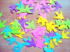 gorgeous multicolor die cut doves for showers, birthdays or scrapbooking, confetti