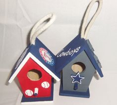 painted birdhouses into Sports Teams.... for ornaments or small bird houses