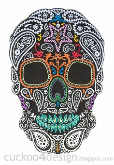 DIY Halloween Mexican skull wall art
