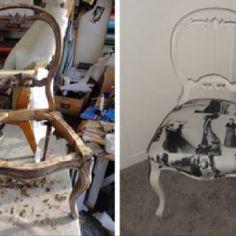 Restauración de silla, tela Laura Ashley