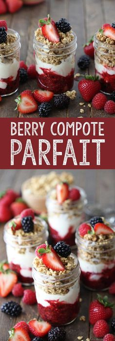 A berry compote parfait. Greek yogurt, triple berry compote, and chia almond granola make this a healthy, easy, delicious breakfast.