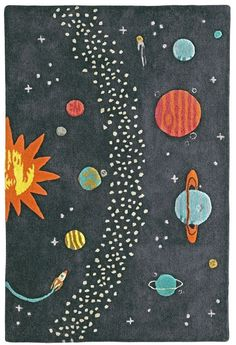 Shop Cosmos Rug.  With a variety of colorful planets and stars against a dark, neutral background, this outer space rug is just what every astronomer-to-be needs in their room.