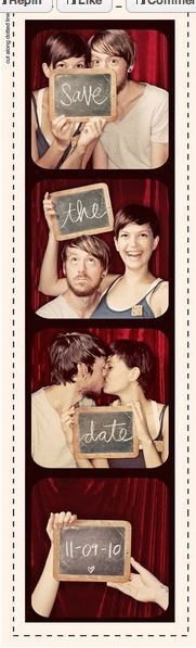 Really easy Save-the-Dates. Set up photobooth and get a chalkboard. Combine them using PhotoShop, print, cut, and mail!